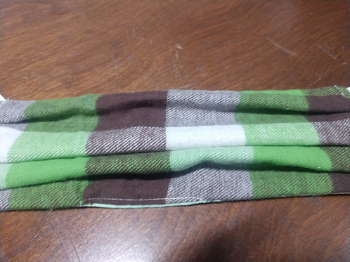 Green and brown plaid fask mask