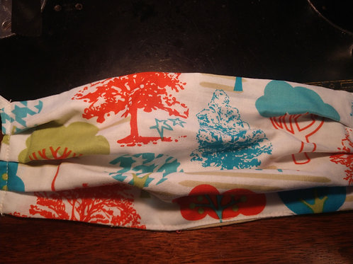 Multicolor tree print face mask