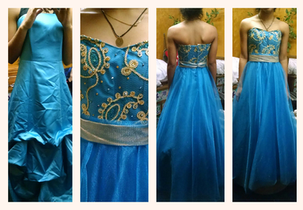We took a dated bridesmaid dress and transformed it into a beautiful homecoming court gown!