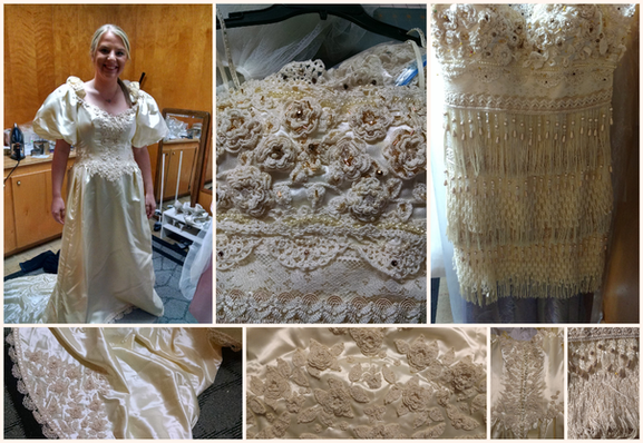 Another favorite - Mom's dress became a unique dress for a 1920's inspired reception. Not pictured is the flower girl dress, ring bearer pillow and garters also made from mom's gown!