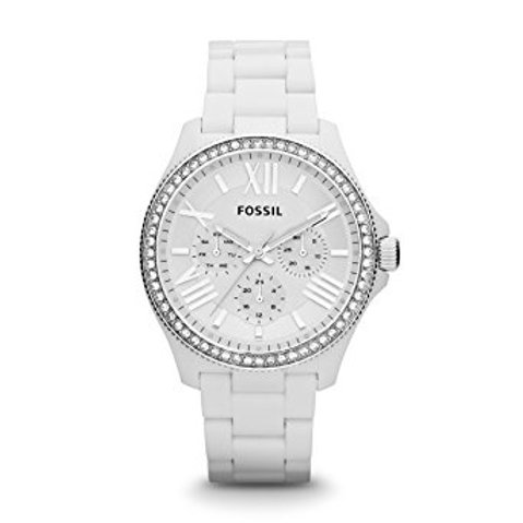 Fossil Cecile GMT Multi-Function White Resin Ladies Watch AM4494