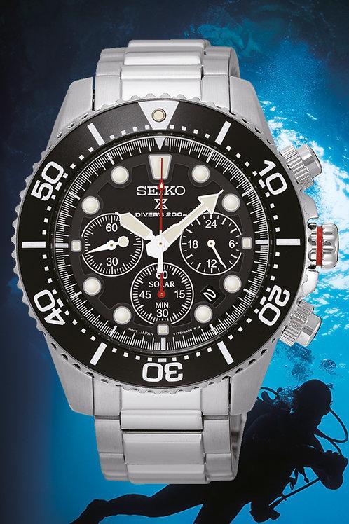 Seiko Prospex Solar Diver Black Dial Chrono SSC015