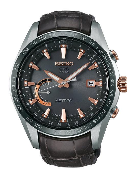 Mens Seiko Astron GPS Solar World Time Titanium Watch SSE095