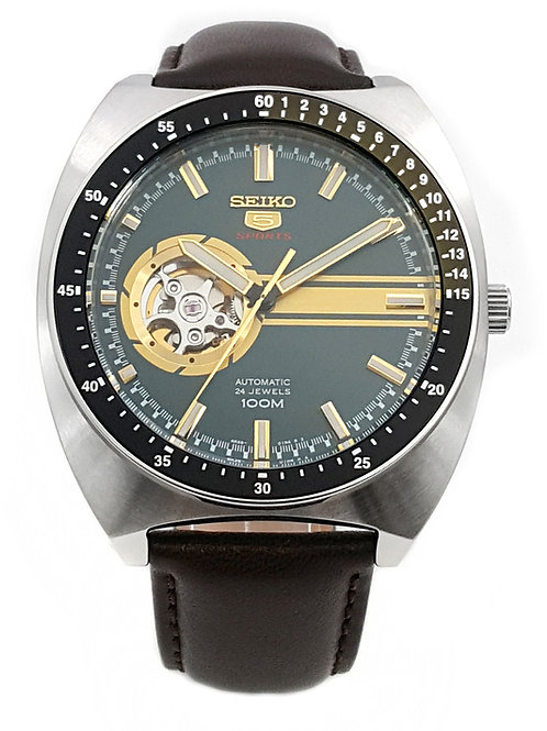 Seiko Automatic Green Dial Brown Leather Men's Watch SSA333