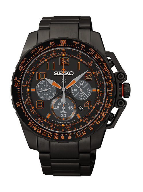 Seiko Prospex Pilot Mens Black Orange Dial Quartz Chronograph SSC277