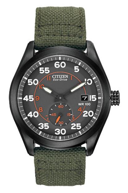 Citizen Bv1085-22H Eco-Drive Green Nylon Strap Watch