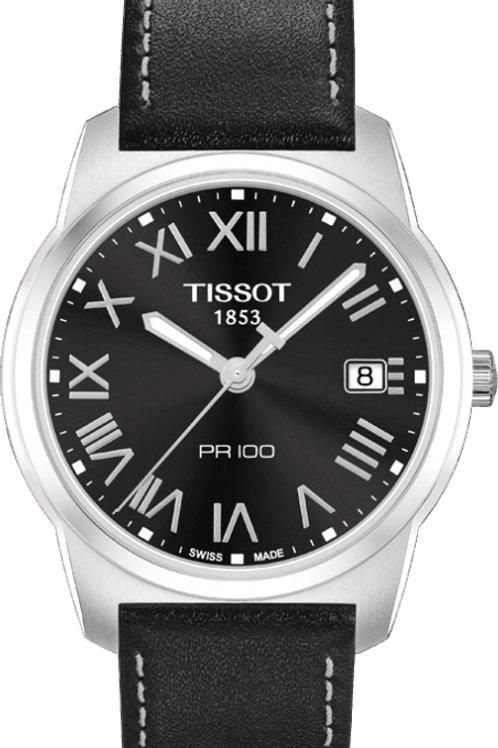 Tissot Men's T049.410.16.053.01 PR-100 Black Dial Black Leather