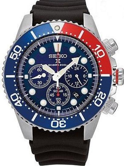 Seiko SSC031 Chronograph Blue Dial Steel Black Rubber 200M Diver Men's Watch
