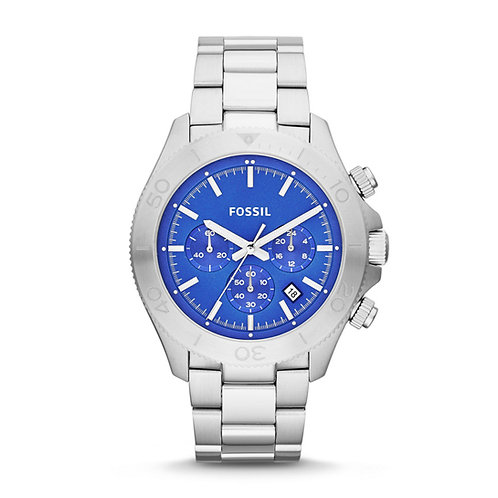 Fossil Retro Traveler Chronograph Blue Dial Steel Men's Watch CH2894