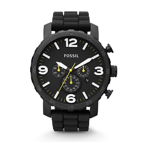 Fossil Men's Nate JR1425 Black Silicone Analog Quartz Watch