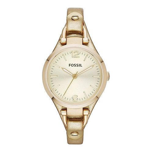 Fossil Georgia Champagne Dial Gold Leather Ladies Watch ES3414