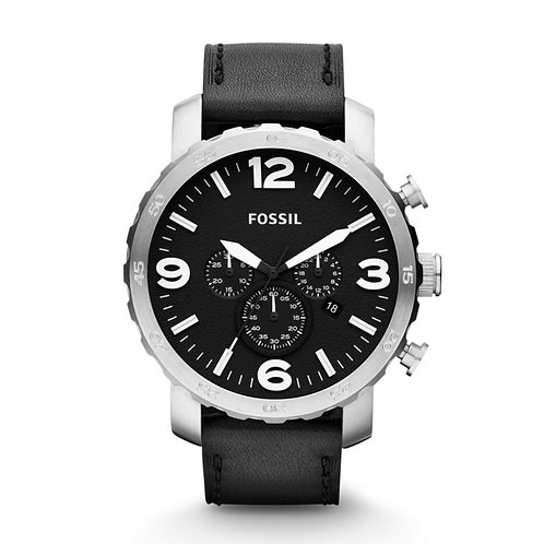 Fossil Men's JR1436 Nate Stainless Steel Watch with Black Leather