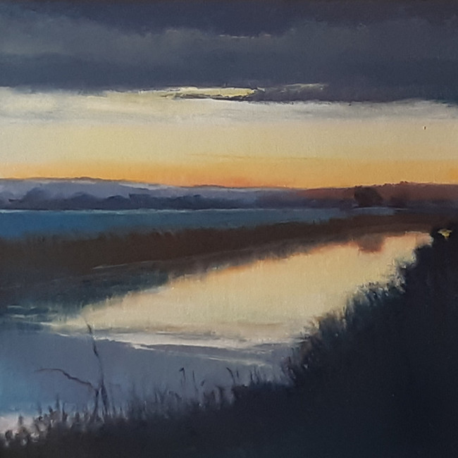 Sunset Over River Rother. 30 x 30cm, oil on canvas