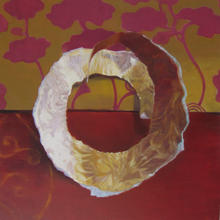 Gold Paper Fragment on Red. 30 x 30cm. S