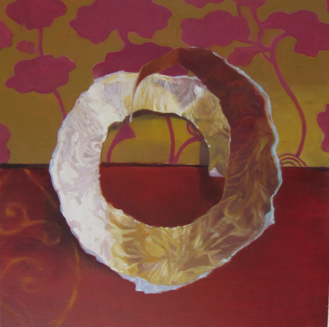 Gold Paper Fragment on Red. 30 x 30cm, oil on canvas. Sold