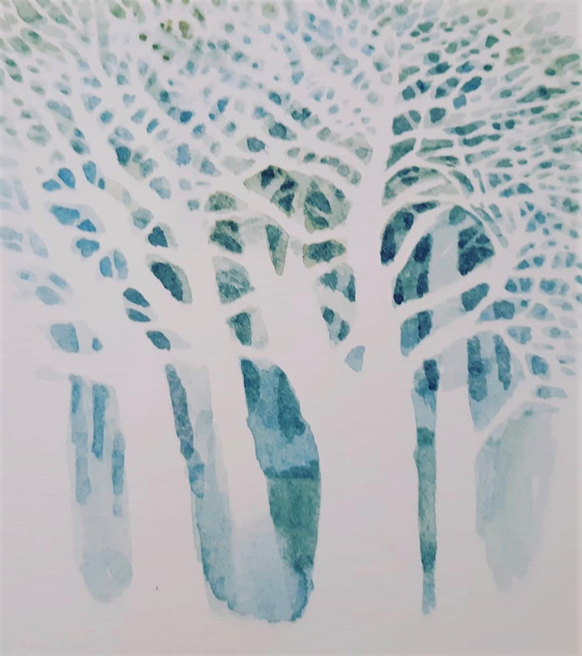 Tree Form 2. 16.5 x 15cm, watercolour