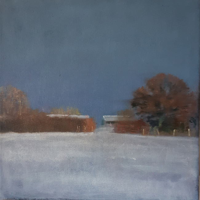 Looking North, Winter Field. 30 x 30cm, oil on canvas. Sold