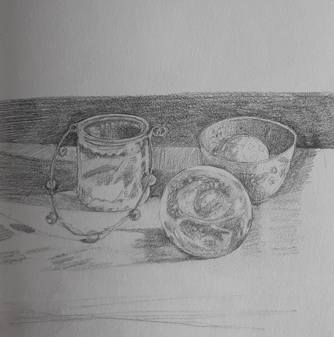 Glass Plastic and China. 17 x 18cm, graphite pencil on paper