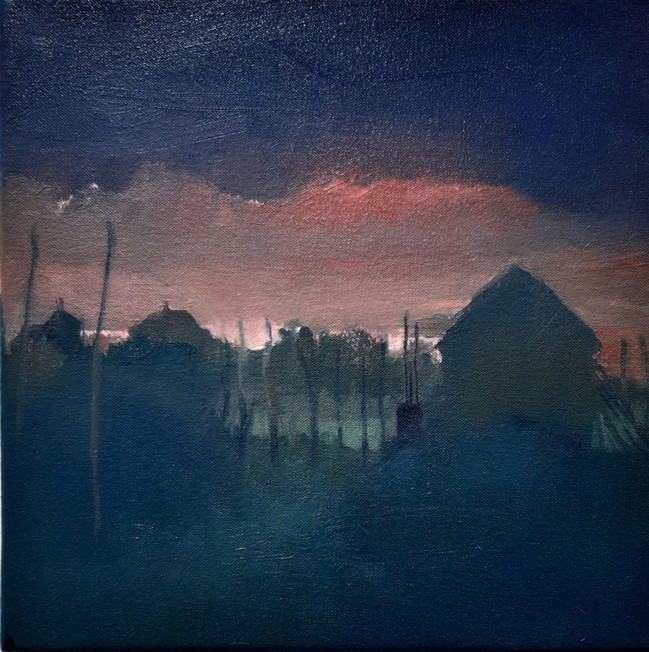 Blush Autumn Sky. 30 x 30cm, oil on canvas. Sold