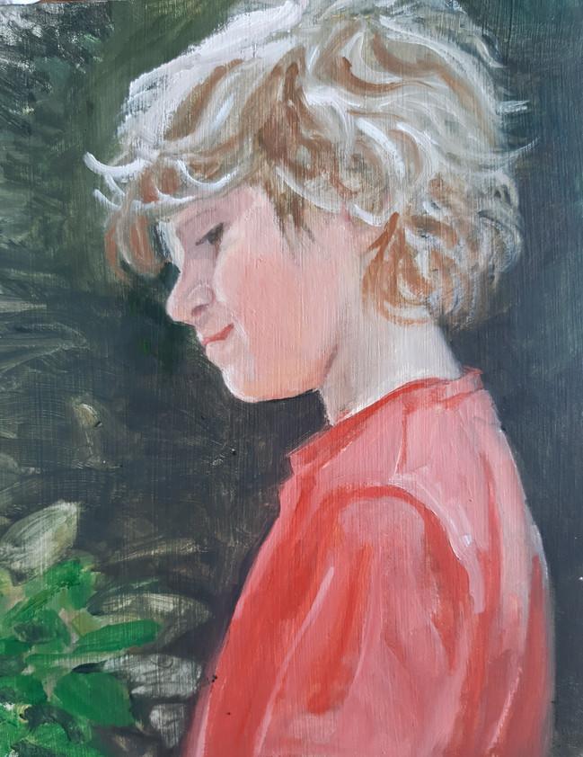 Marcus In the Garden. 17 x 14.75cm, oil on canvas
