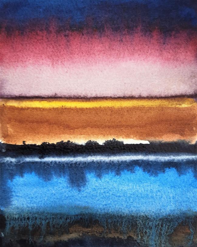 Landscape With Colour 1. 17.4 x 12.5cm, watercolour
