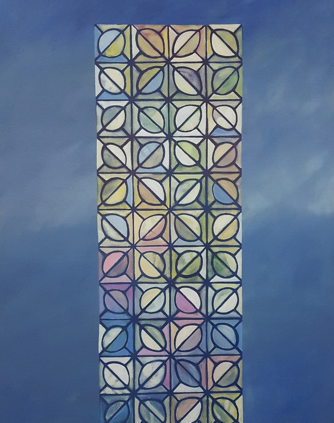 Mirrored Tower. 120 x 80cm, oil on canvas