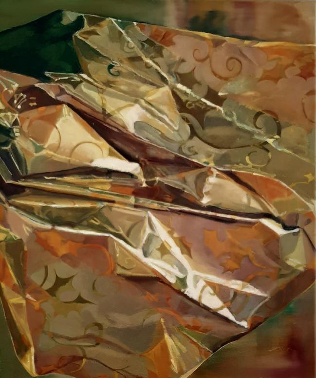 Gold Paper Landscape. 60 x 50cm, oil on canvas