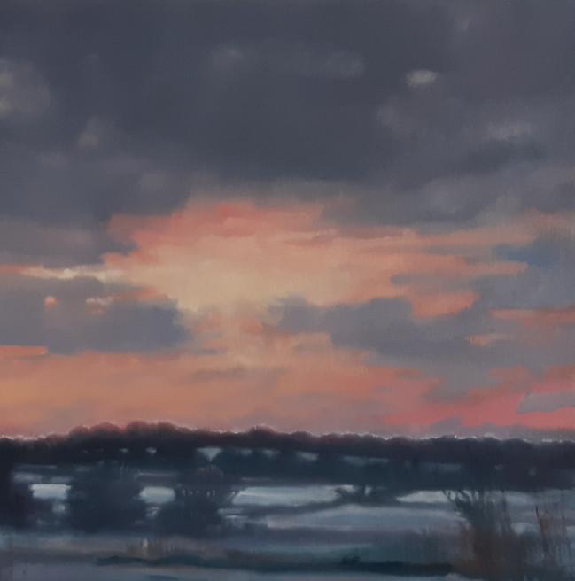 Dawn in Winter. 40 x 40cm, oil on canvas