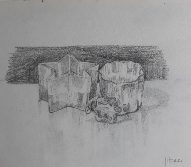 Glass and Silver. 14 x 18cm, graphite pencil on paper