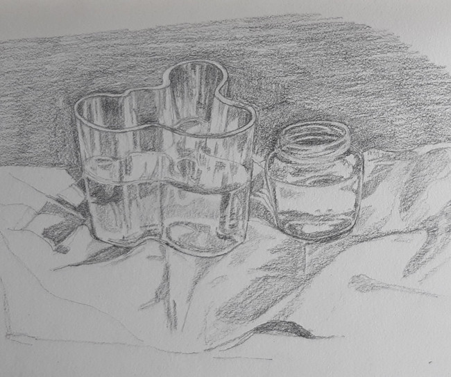 Aalto Vase and Glass Jar. 16  x 19cm, graphite pencil on papercopy