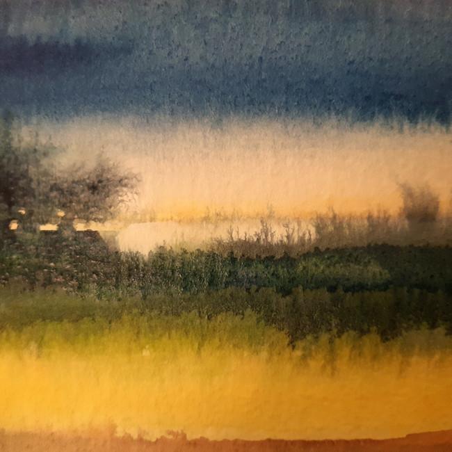 Landscape With Colour 2. 10 x 13.5cm, watercolour