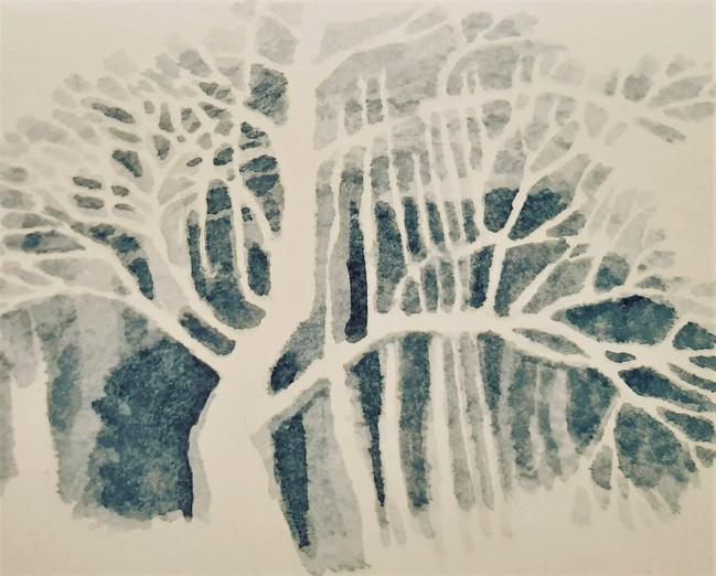 Tree Form 1. 13.5 x 18.5cm, watercolour