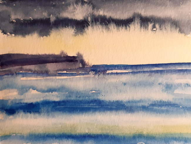 Sea Scape with Colour. 12.5 x 17.5cm, watercolour