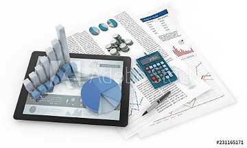 charts, tablet and financial documents i