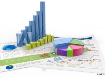 bar graph, pie chart and diagrams isolat