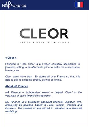 Cleor - NG Finance a accompagné la société dans la valorisation de certains instruments financiers