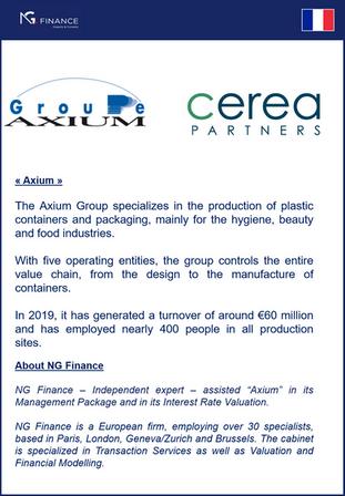 """NG Finance a assisté """"Axium""""dans sa valorisation d'instruments financiers et dans sa justificati"""