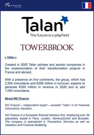 """NG Finance a assisté la société """"Talan"""" dans sa valorisation d'instruments financiers."""