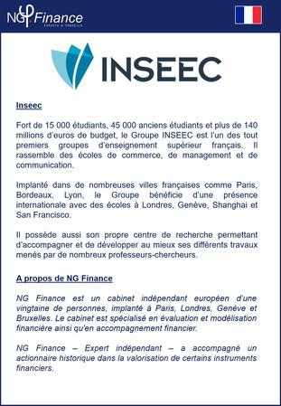 INSEEC - NG Finance a réalisé l'évaluation de certains instruments financiers