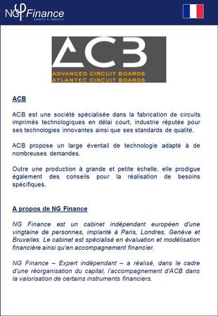 Opération LBO - NG Finance est intervenu dans l'évaluation d'instruments financiers