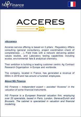Acceres - NG Finance assisted the company Acceres in Financial Instruments Valuation