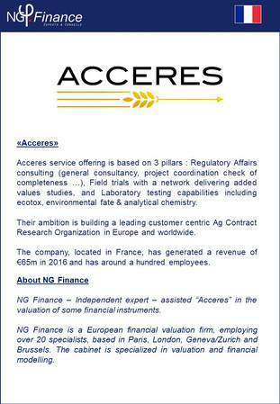 Acceres - NG Finance a accompagné la société dans la valorisation d'instruments financiers