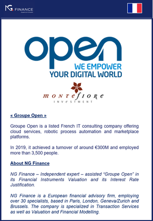 """NG Finance assisted """"Groupe Open"""" in its Financial Instruments Valuation."""
