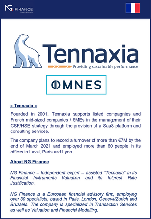 "NG Finance assisted ""Tennaxia"" in its Financial Instruments Valuation."