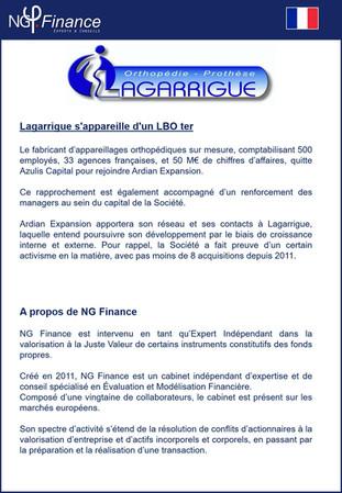 Opération LBO - Lagarrigue: NG Finance a réalisé un évaluation indépendante d'instruments financ