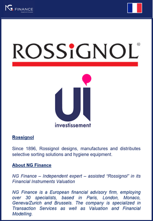 NG Finance a assisté Rossignol dans sa valorisation d'instruments financiers