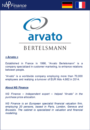 Arvato - NG Finance a accompagné la société dans l'allocation du prix d'acquisition