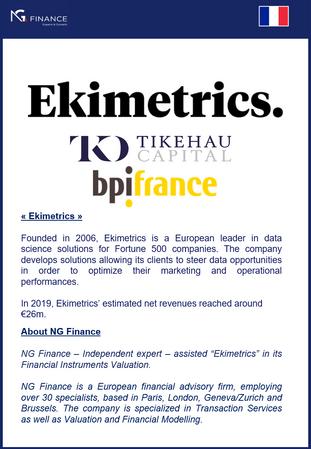 """NG Finance a assisté """"Ekimetrics"""" dans sa valorisation d'instruments financiers."""