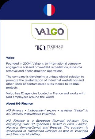 NG Finance a assisté Valgo dans sa valorisation d'instruments financiers