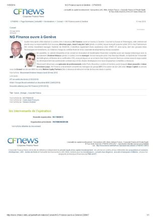 Nouveau bureau à Genève !  NG Finance ouvre un nouveau bureau en Suisse, également dédié à l'All